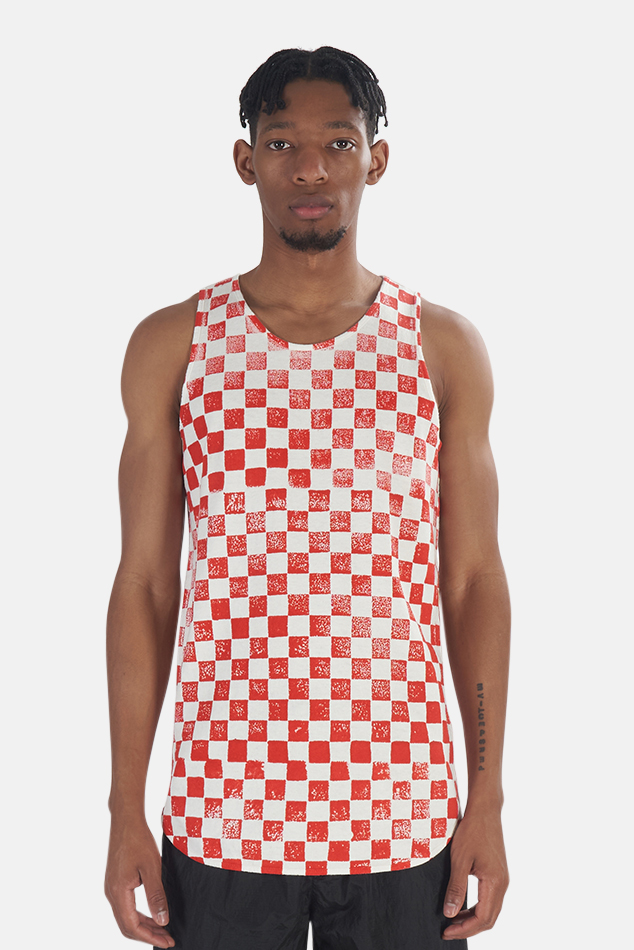 Men's Jungmaven Checkerboard Tank Top in Red, Size Large