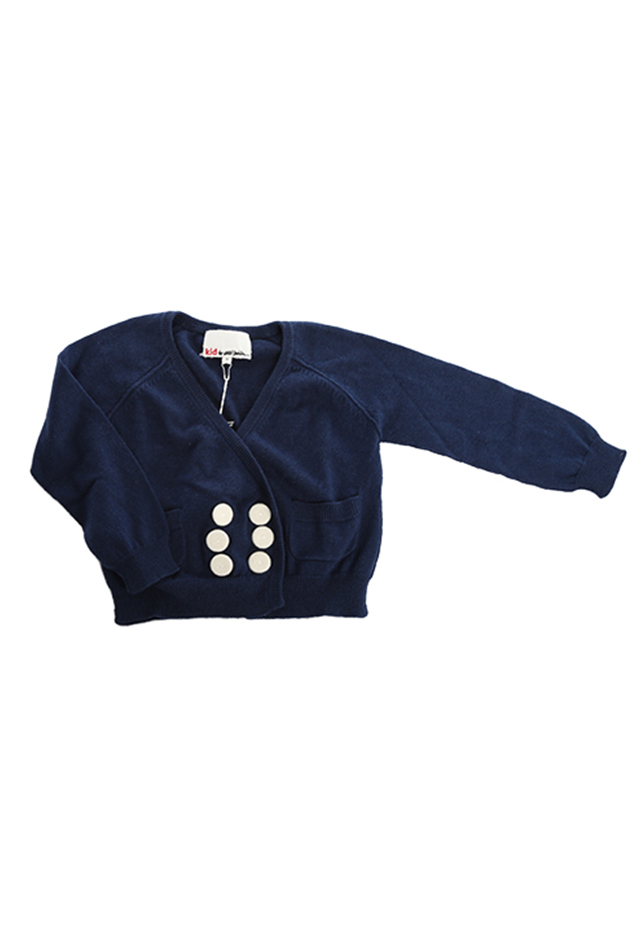 3.1 Phillip Lim Kids Double Breast Cardigan Top in White/Navy, Size 3Y