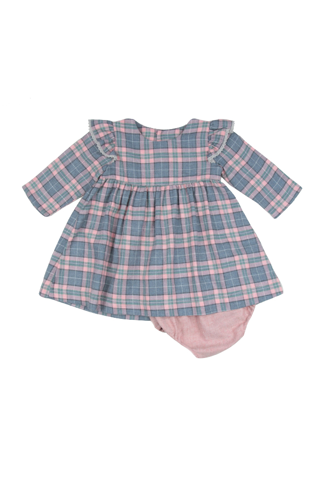 Girl's Poeme & Poesie Plaid Dress with Lace Trim in Pink, Size 2T