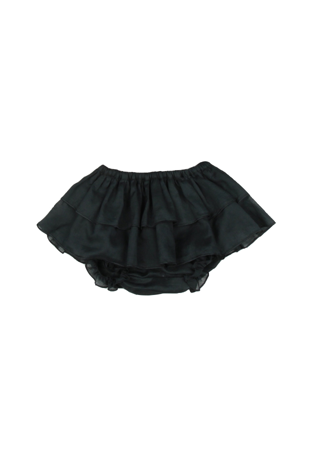 Girl's Poeme & Poesie Double Layer Voile Bloomer in Black, Size 2T