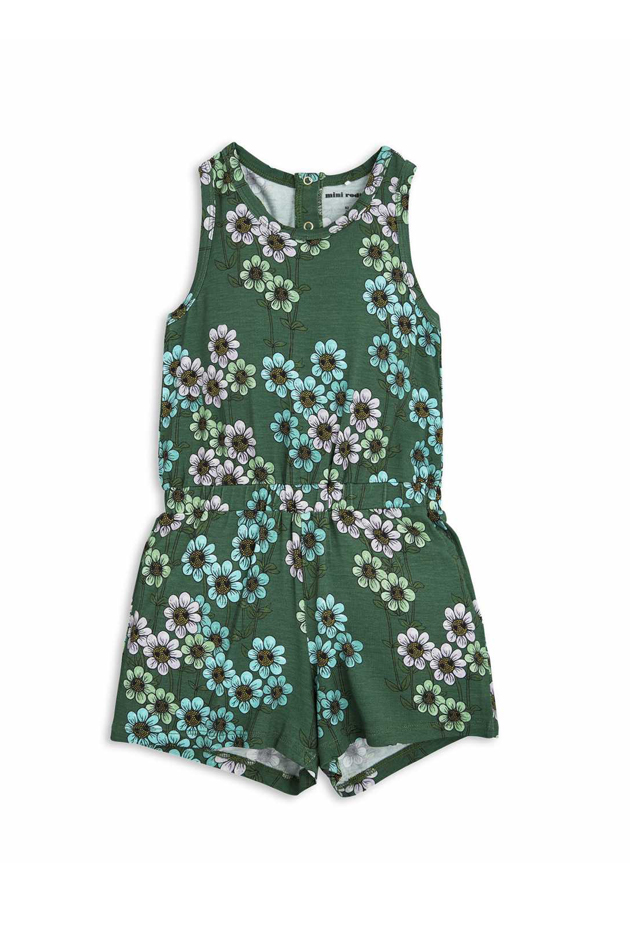 Kids Mini Rodini Daisy Summersuit in Green, Size 104-110
