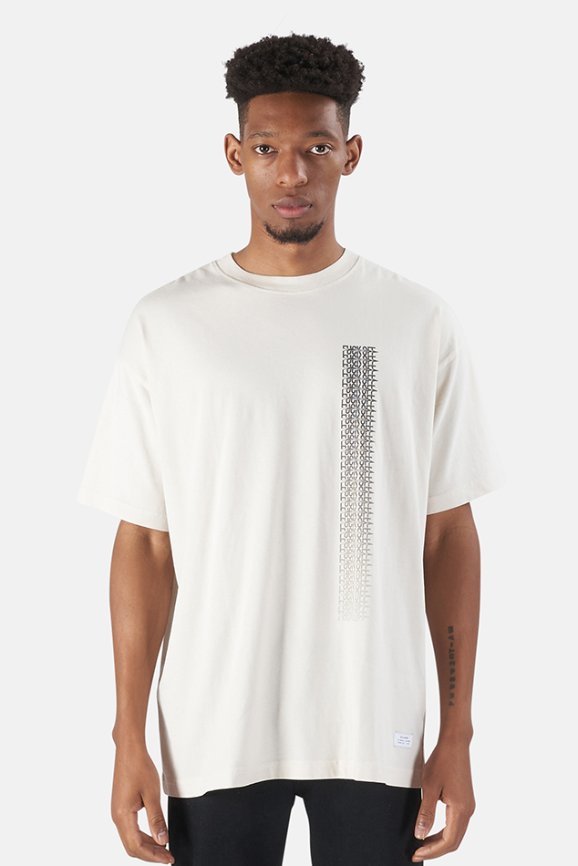 Men's Stampd F*** Off Drag Box T-Shirt in Cement, Size Medium