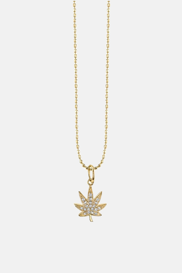 Women's Sydney Evan Small Pave Diamond Pot Leaf Necklace in Yellow