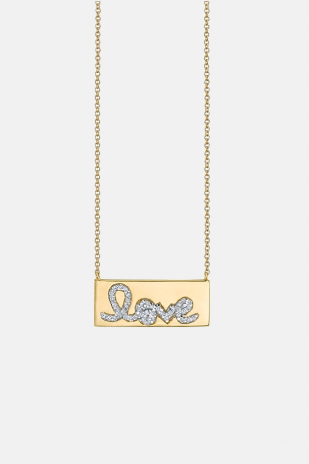 Sydney Evan Diamond Love Bar Necklace
