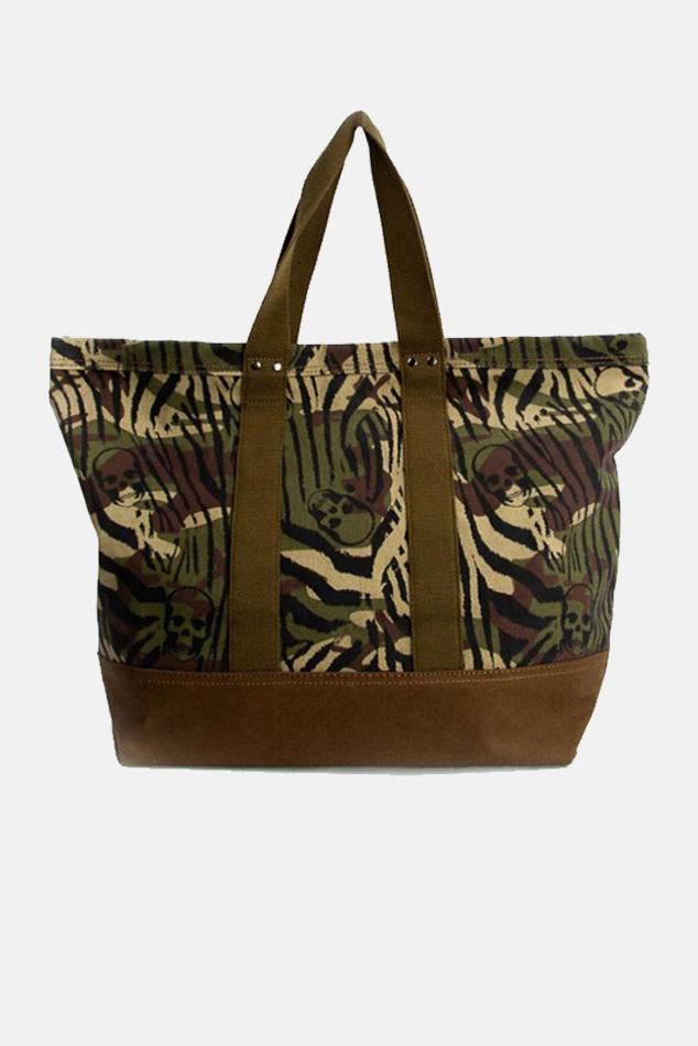Lucien Pellat-Finet Zebra Camouflage Tote Bag in Green