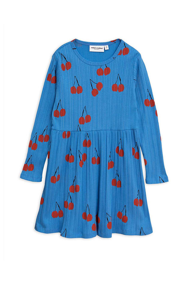 Girl's Mini Rodini Cherry Long Sleeve Dress in Blue, Size 104-110