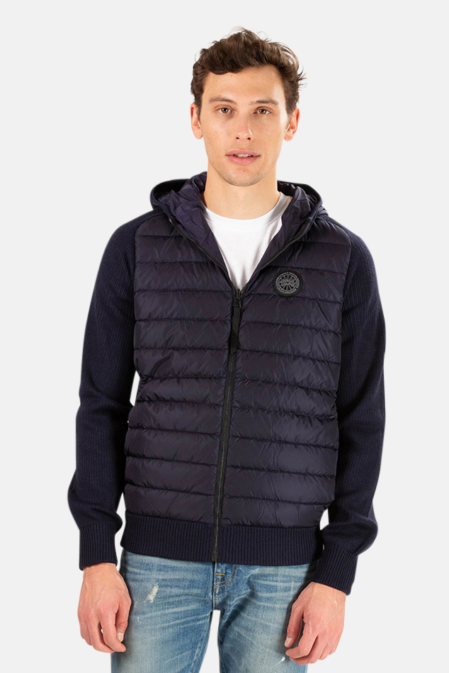 Men's Canada Goose Black Label Hybridge Knit Reversible Hoodie Sweater in Marine, Size Large