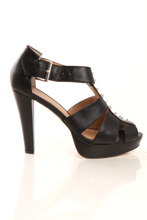 Women's Charlotte Ronson Hayworth Studded Heel Shoes in Black, Size 95