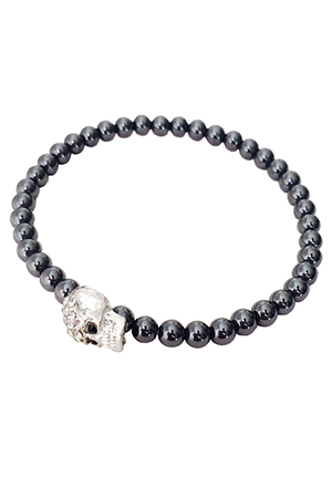 Duchess of Malfi Skull Bead Bracelet in Black