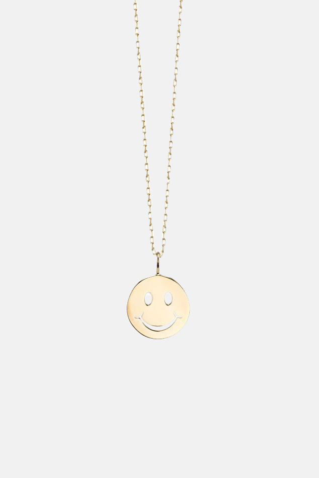 Women's Blue&Cream Sydney Evan Small Pure 'Happy Face' Charm Necklace in Gold