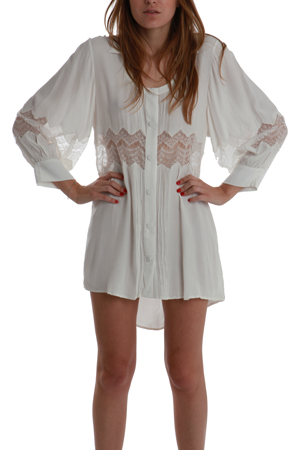 Women's Shakuhachi Embroidered Lace Shirt Dress in White, Size 4