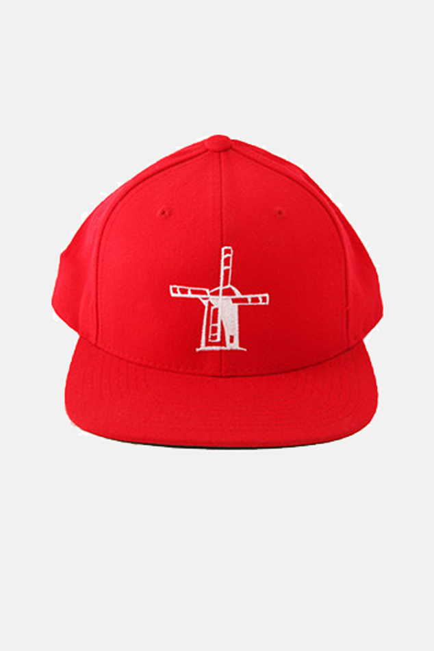 Blue&Cream Windmill Snapback Hat in Red