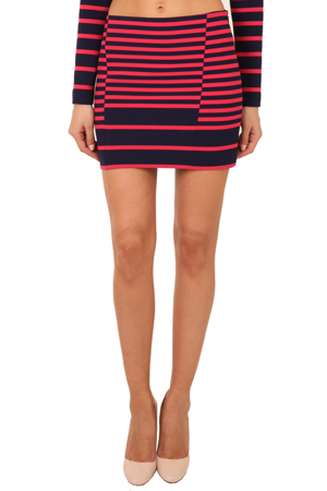 Women's Thakoon Addition Striped Mini Skirt in Navy/Pink, Size 6