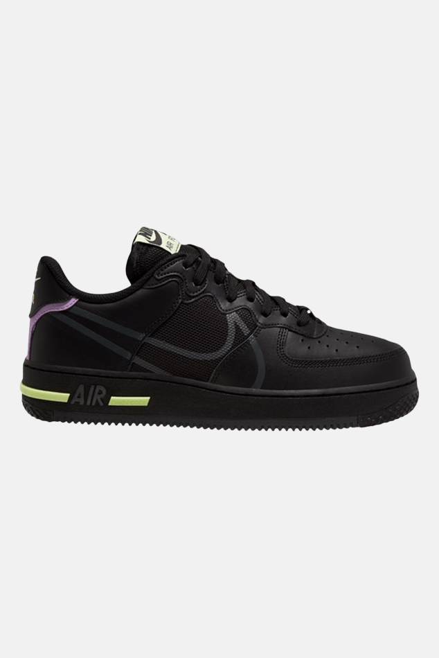 Men's Nike Air Force 1 React Shoes in Black And Violet Star, Size 10