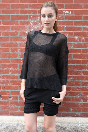 Alexander Wang Shiny Black Chainmail Sweater